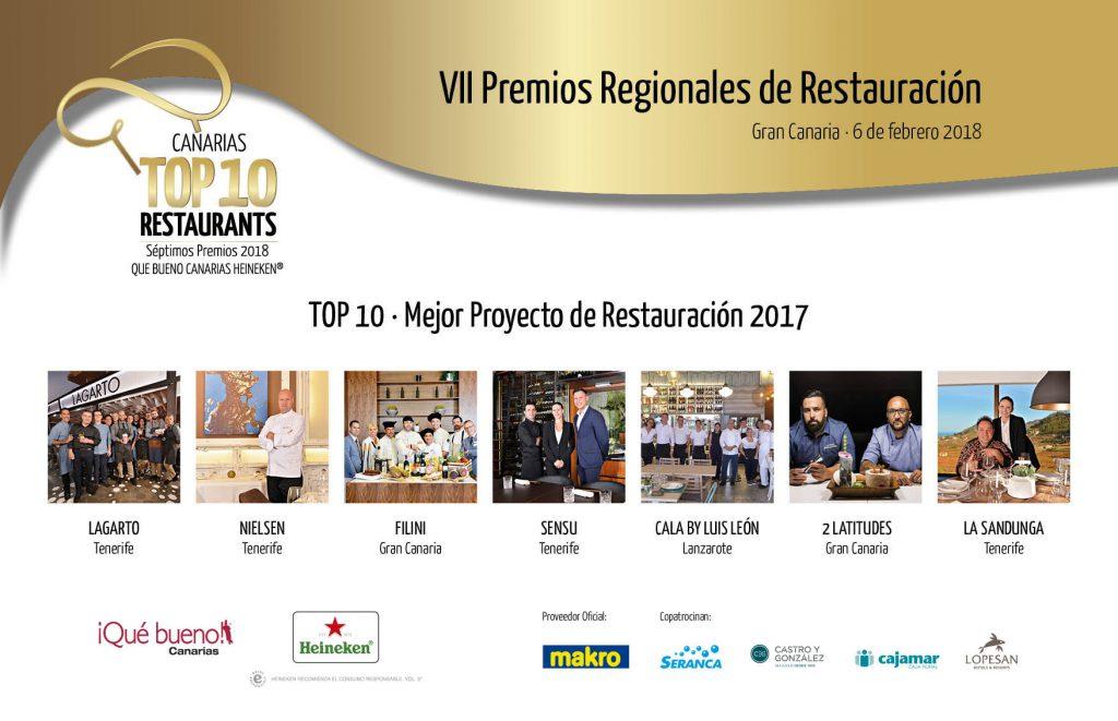 Premios Qué Bueno Canarias Heineken Top 10 Restaurants - TOP 10 · Mejor Proyecto de Restauración 2017