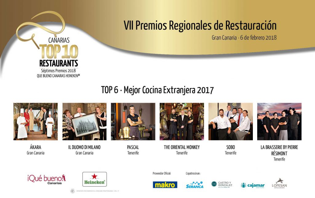 Premios Qué Bueno Canarias Heineken Top 10 Restaurants
